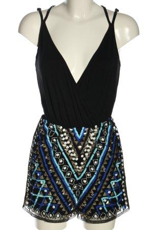 Asos Jumpsuit schwarz-blau grafisches Muster Casual-Look