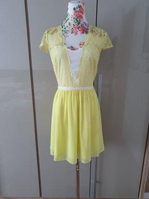 Asos Chiffon jurk wit-neongeel