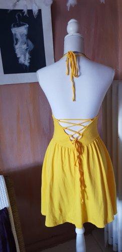 Asos Sukienka z dekoltem typu halter żółty Bawełna