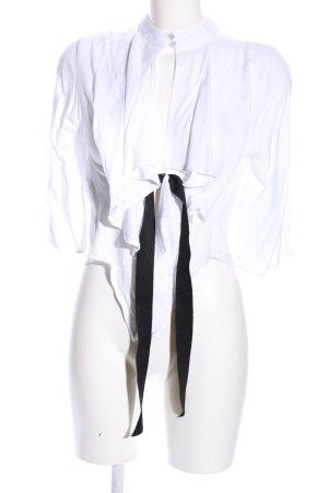Asos Langarm-Bluse weiß-schwarz Casual-Look