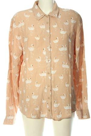 Asos Camicia a maniche lunghe color carne-bianco stampa integrale stile casual