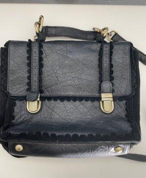 ASOS: Ledertasche, Satchel, Tasche, Umhängetasche, echt Leder, schwarz