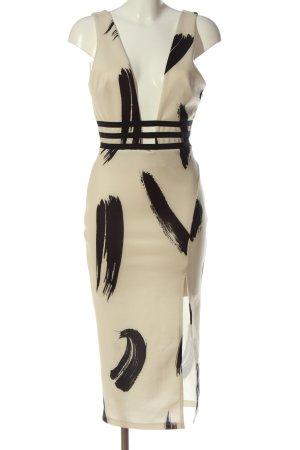 Asos Vestido a media pierna blanco puro-negro estampado con diseño abstracto