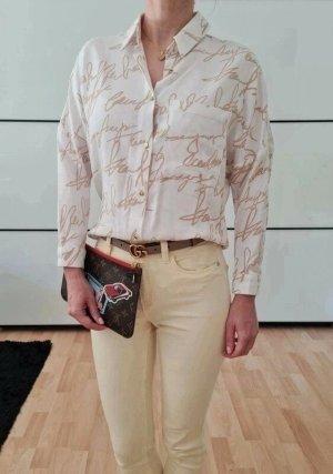 Asos Muster Hemd XXS XS S 32 34 weiß beige Bluse Shirt Top Oberteil Tunika Neu