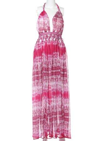 Asos Neckholderkleid pink-weiß abstraktes Muster Casual-Look