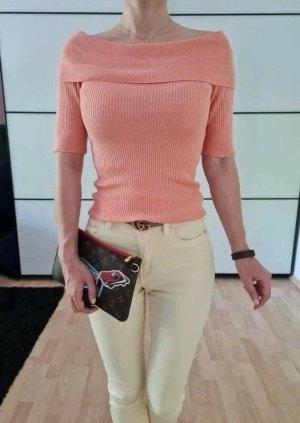 Asos Offshoulder Shirt XS S 32 34 36 lachs Pullover Oberteil Bluse Sweatshirt Tunika Top