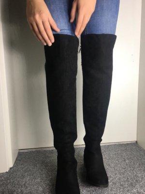 Asos Overknee Stiefel Schwarz 37 38 Schuhe grau