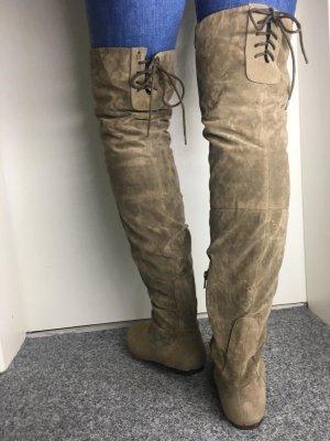 Asos. Overknee Stiefel Taupe Grau Braun lang 37 38