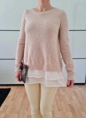Asos oversized Pailletten Pullover 34 36 XS S M rosa knit Pulli Plissee Bluse Shirt Hemd Neu