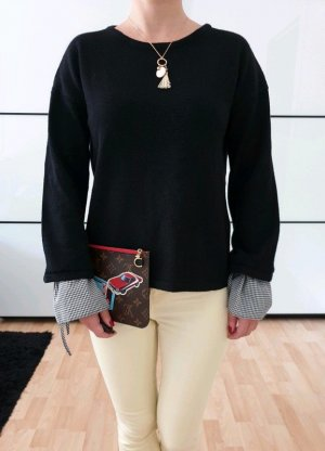 Asos oversized Pullover 34 36 XS S schwarz knit Volantärmel Pulli Plissee Oberteil Bluse Tunika Top Neu