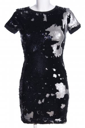 Asos Pailettenkleid schwarz-hellgrau abstraktes Muster Elegant