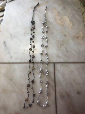 Asos Pearl Silver und Geldstein Schwaz 2 Stück Halskette NEU