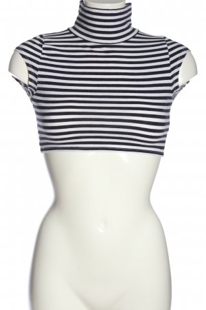Asos Petite Cropped Top black-white striped pattern casual look