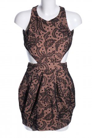 Asos Petite Cut-Out-Kleid nude-schwarz abstraktes Muster Elegant