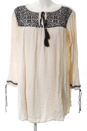 Asos Petite Tunique-blouse crème-noir motif graphique style décontracté
