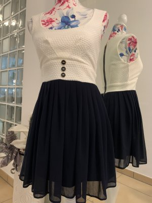ASOS DESIGN Petite Robe à manches courtes bleu foncé-blanc cassé