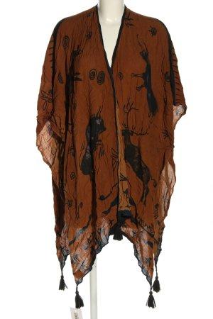 Asos Ponczo brązowy-czarny Abstrakcyjny wzór W stylu casual