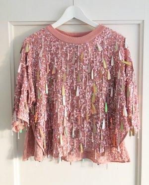 Asos Pulli / Shirt, 1/2-Arm, Rosa, Tropfen-Verzierung, Pailletten, Gr. 36, NEU mit Etikett