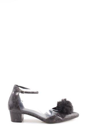 Asos Riemchen-Sandaletten schwarz Animalmuster Glanz-Optik