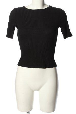 Asos Prążkowana koszulka czarny W stylu casual