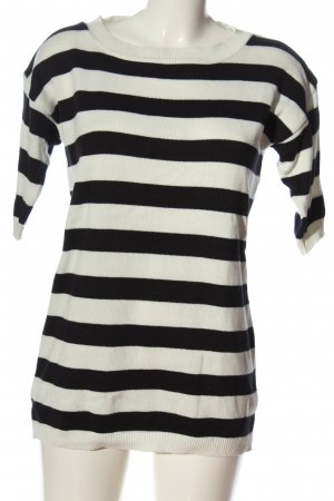 Asos Rundhalspullover weiß-schwarz Streifenmuster Casual-Look