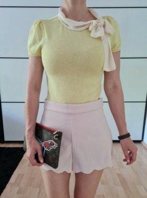 Asos Schleife Bluse 32 34 36 XS S gelb knit Peplum Pullover Shirt Hemd Top