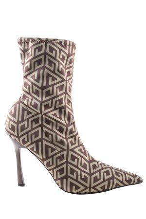 Asos Schlüpf-Stiefeletten braun-creme grafisches Muster Elegant