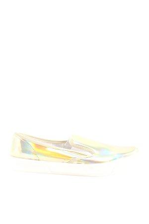 Asos Schlüpfsneaker goldfarben-weiß Casual-Look