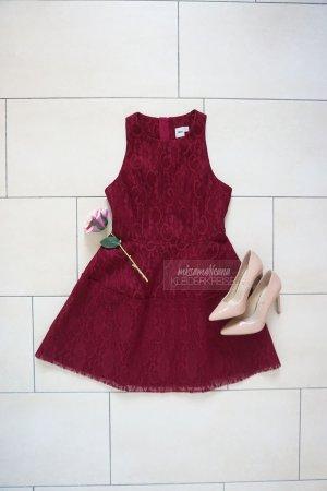 Asos Scuba Lace Dress dunkelrot