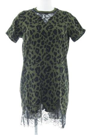 Asos Shirtkleid khaki-schwarz Animalmuster Casual-Look