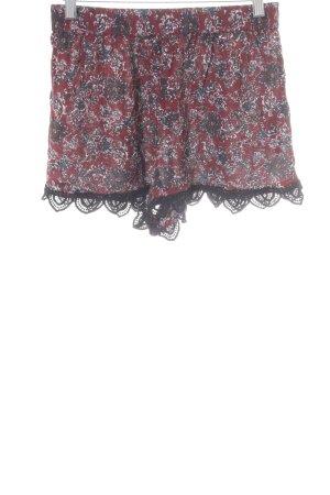 Asos Shorts karminrot-taupe abstraktes Muster Boho-Look