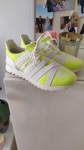 Asos Sneaker Turnschuhe weiss neongelb Gr 39 wie neu