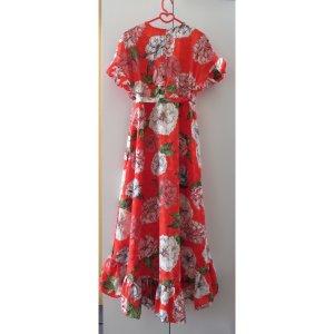 ASOS Sommerkleid Wickelkleid Gr. S 36 38 Rüschenkleid rot orange Blumenmuster
