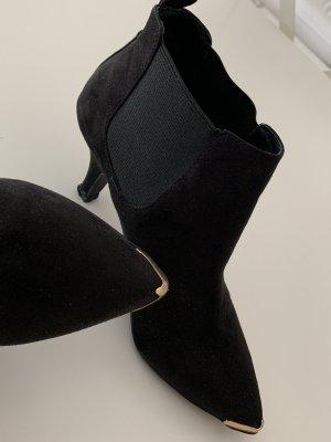 Asos Peep Toe Booties black-gold-colored