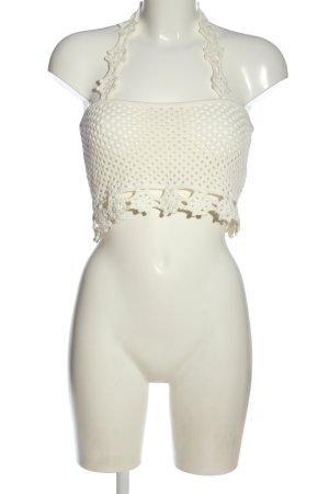 Asos Knitted Top natural white weave pattern elegant