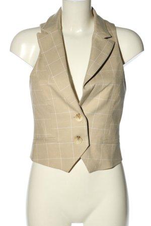 Asos Kamizelka z dzianiny kremowy-biały Wzór w kratkę W stylu casual