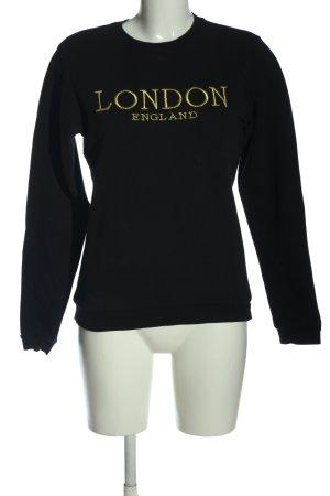 Asos Sweatshirt schwarz-goldfarben Schriftzug gestickt Casual-Look