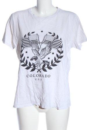 Asos T-Shirt weiß-schwarz Motivdruck Casual-Look