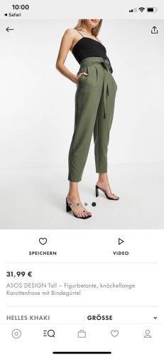 Asos Tall Spodnie karoty zielono-szary