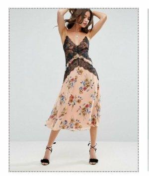 Asos Kanten jurk zwart-roségoud