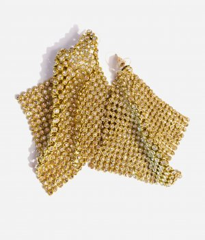 Asos Boucle d'oreille incrustée de pierres doré-blanc