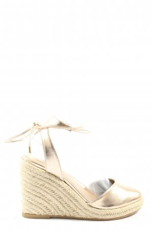 Asos Wedges Sandaletten creme-goldfarben Casual-Look