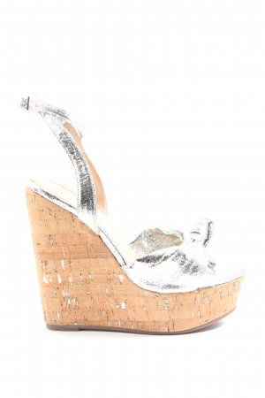 Asos Wedges Sandaletten silberfarben Casual-Look