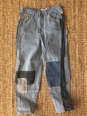 Asos White Premium Patchwork Baggy Jeans