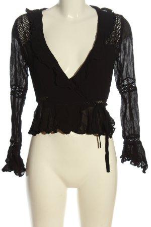 Asos Kopertowa bluzka czarny W stylu casual