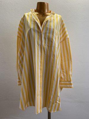 Aspesi Bluse Hemd weiß gelb gestreift oversized