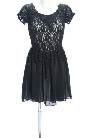 Spitzenkleid schwarz Blumenmuster Casual-Look