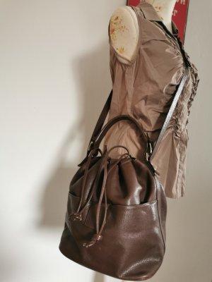 Assima Damen Tasche Bowling Bag Umhängetasche Leder braun