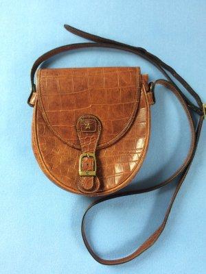 Assima Vintage-Satteltasche Karamellbraunes Kroko-Leder