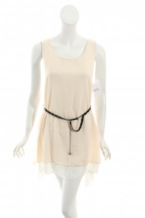 Assuili High Low Dress cream-black simple style